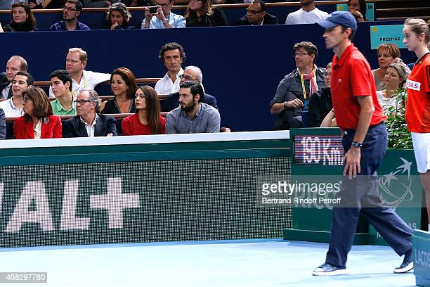 Michel Leeb and his wife Beatrice singer Sofia Essaidi and her companion attend the Final match during day 7 of the BNP Paribas Masters Held at...