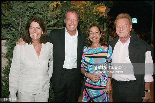 Michel Leeb sponsor of Cent Pour Sang La Vie and his wife Beatrice Anne Barrere Robert Namias at Opening Of The 24th Ramatuelle Festival With Show La...