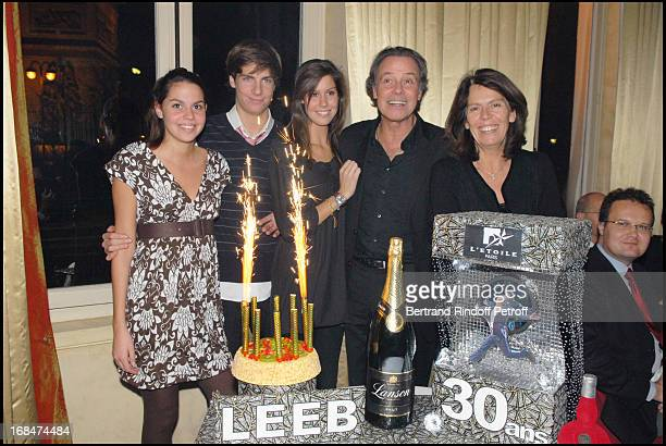 Michel Leeb with wife Beatrice their son Tom and their daughters Elsa Et Fanny at Michel Leeb's 30 Year Career Celebration At Palais Des Congres In...