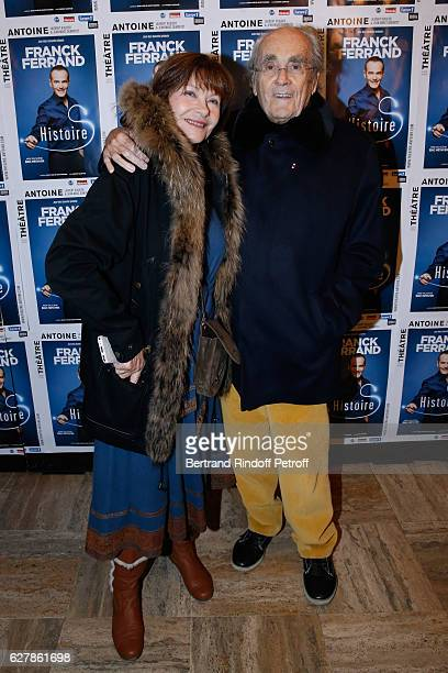 Michel Legrand and his wife Macha Meril attend Franck Ferrand performs in his Show 'Histoires' at Theatre Antoine on December 5 2016 in Paris France