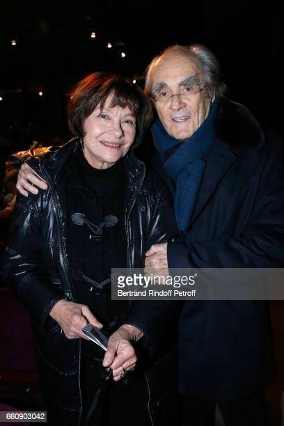 Michel Legrand and his wife Macha Meril attend the Hotel des deux mondes Theater Play at Theatre Rive Gauche on January 26 2017 in Paris France