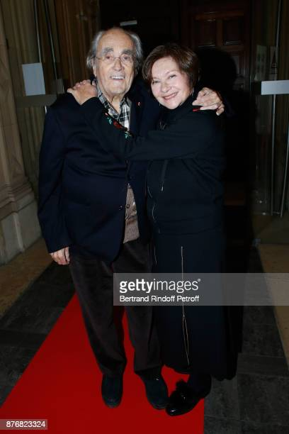 Michel Legrand and his wife Macha Meril attend the Tribute to Jean-Claude Brialy for the 10th anniversary of his death. Held at Centre National du...