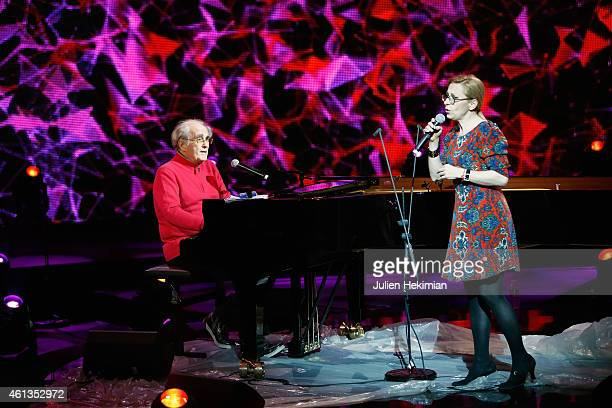 Michel Legrand and Nathalie Dessay are pictured during rehearsals of 'Tous En Coeur Pour Charlie' at Maison De La radio on January 11 2015 in Paris...