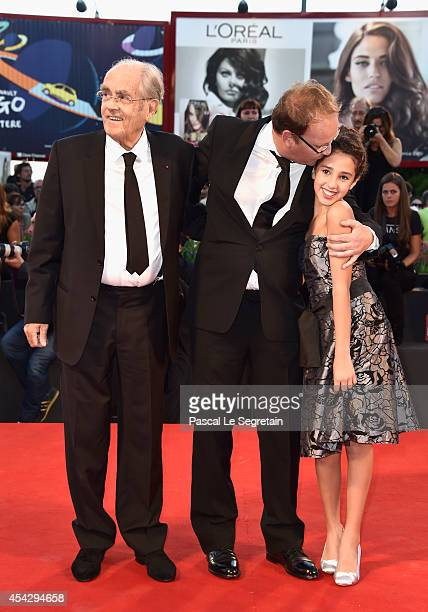Michel Legrand director Xavier Beauvois and Seli Gmach attend the 'La Rancon De La Gloire' premiere during the 71st Venice Film Festival on August 28...
