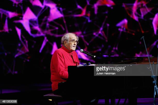 Michel Legrand is pictured during rehearsals of 'Tous En Coeur Pour Charlie' at Maison De La radio on January 11 2015 in Paris France