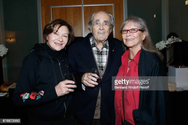 Michel Legrand standing between his wife Macha Meril and Marina Vlady attend the Tribute to Jean-Claude Brialy for the 10th anniversary of his death....