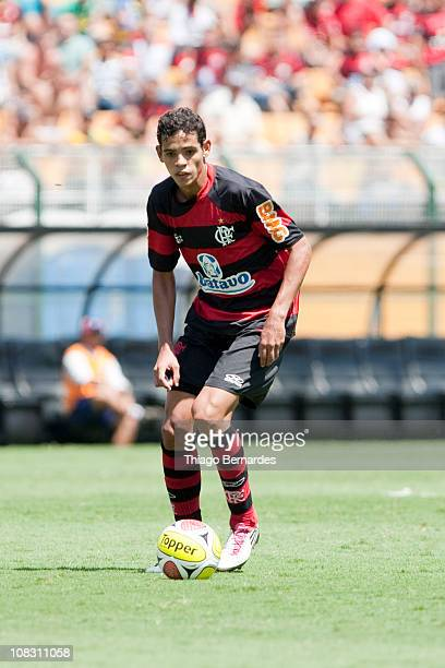 Michel Loran of Flamengo in action during a match against Bahia as part of the Sao Paulo Juniors Cup 2011 at Pacaembu stadium on January 25 2011 in...