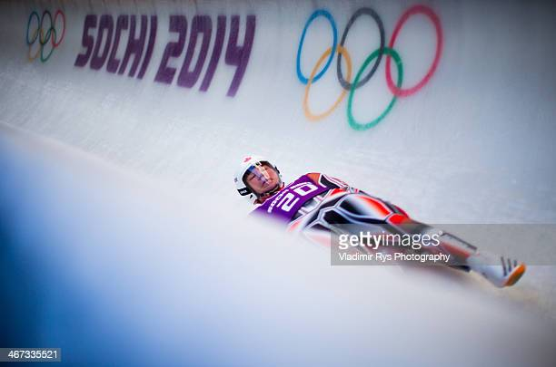 Michel Malyk of Canada takes part at the Luge Men's Singles Training session ahead of the Sochi 2014 Winter Olympics at the Sanki Sliding Center on...