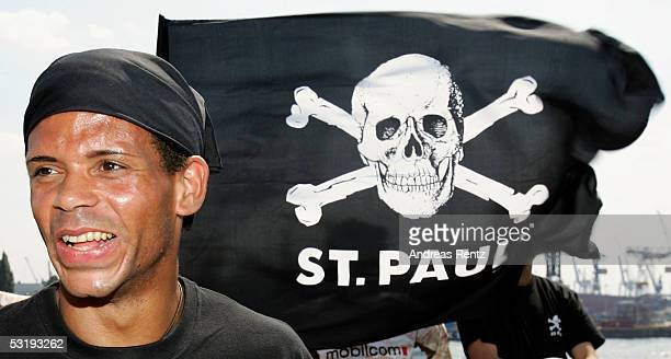 Michel Mazingu-Dinzey poses for a photograph during the Team Presentation of FC St. Pauli on July 4, 2005 in Hamburg, Germany