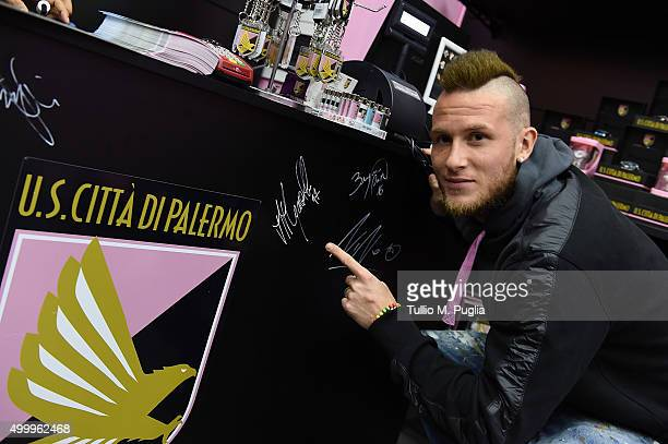 Michel Morganella of US Citta' di Palermo visits Palermo Ovvicial Store at Renzo Barbera stadium on November 26 2015 in Palermo Italy