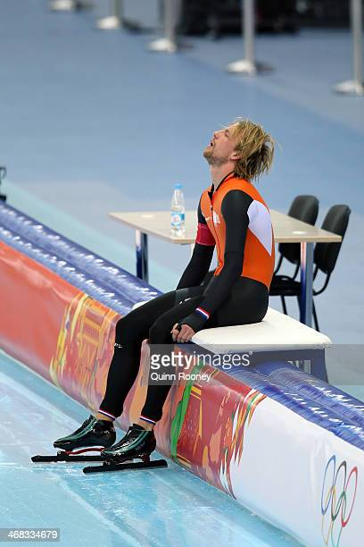 Michel Mulder of the Netherlands reacts after competing during the Men's 500 m Race 2 of 2 Speed Skating event during day 3 of the Sochi 2014 Winter...