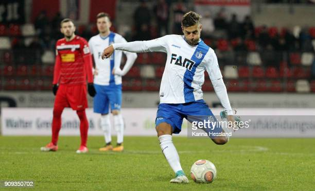 Michel Niemeyer of Magdeburg during the 3Liga match between FC Rot Weiss Erfurt and 1FC Magdeburg at Arena Erfurt on January 22 2018 in Erfurt Germany