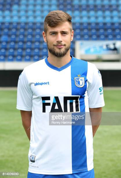 Michel Niemeyer poses during the team presentation of 1 FC Magdeburg at MDCCArena on July 13 2017 in Magdeburg Germany