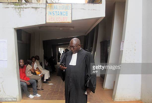 Michel Ntogue one of the lawyers for the defence stands outside the Yaounde court which on July 23 sentenced a man to two years in prison and handed...
