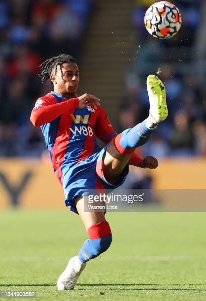Michel Olise of Crystal Palace controls the ball during the Premier League match between Crystal Palace and Leicester City at Selhurst Park on...