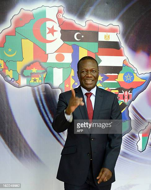 Michel Ouedraogo, General Executive of the Panafrican Cinema and Television Festival of Ouagadougou gestures while posing on February 20, 2013 in...
