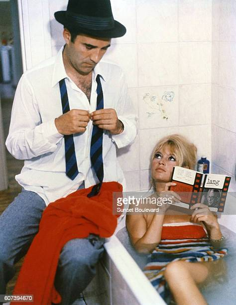 Michel Piccoli and Brigitte Bardot on the set of Le Mepris
