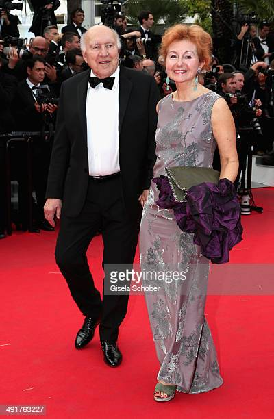 Michel Piccoli and Ludivine Clerc attend the Saint Laurent premiere during the 67th Annual Cannes Film Festival on May 17 2014 in Cannes France
