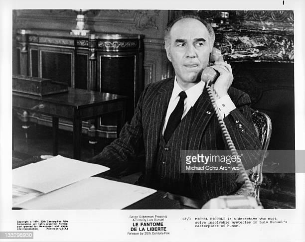 Michel Piccoli on the phone in a scene from the film 'Le Fantome De La Liberte' 1974