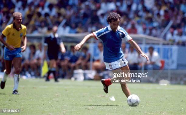 Michel Platini France / Bresil Quart de Finale de la Coupe du Monde 1986 Photo Alain de Martignac / Icon Sport