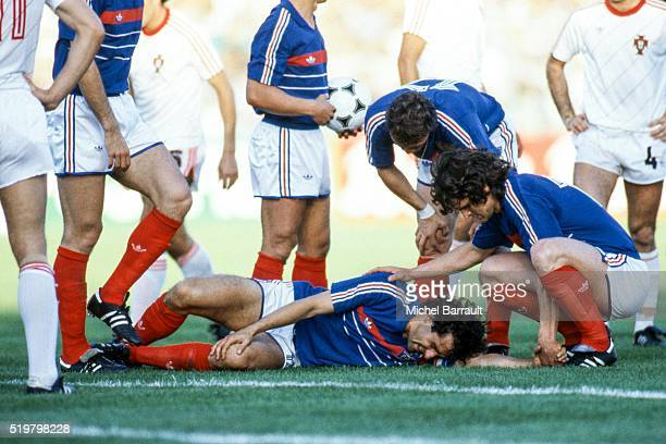 Michel Platini and Didier Six of France during the Semi Final Football European Championship between France and Portugal Marseille France on 23 June...