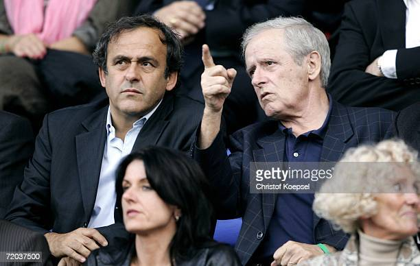 Michel Platini and his father Aldo Platini watch the UEFA Cup second leg match between AS Nancy and Schalke 04 at the Marcel Picot Stadium on...