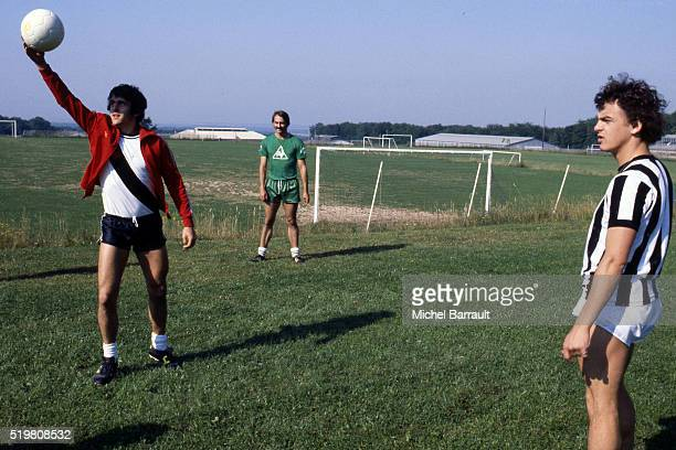 Michel Platini and Olivier Rouyer of Nancy during the training of his team Nancy on 20th July 1978 in Nancy