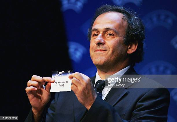 Michel Platini draws out AS Monaco during the UEFA Champions League Draw for the first stage of the Season 2004/05 at the Grimaldi Forum on August 26...