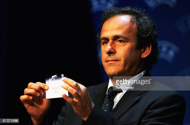 Michel Platini draws out Celtic during the UEFA Champions League Draw for the first stage of the Season 2004/05 at the Grimaldi Forum on August 26...