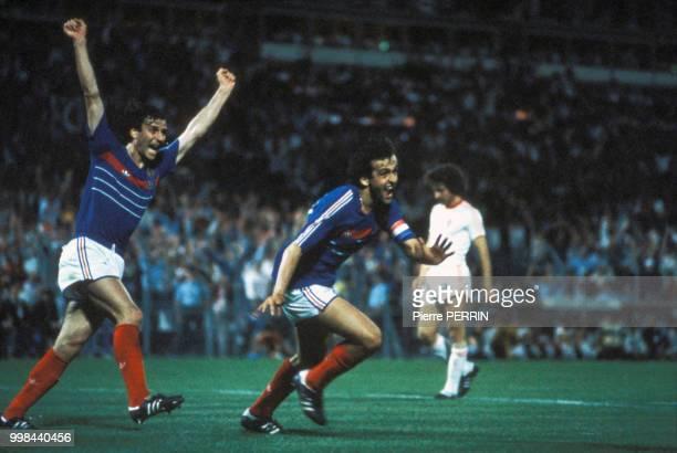 Michel Platini explose de joie lors du match contre le Portugal de la Coupe d'Europe le 23 juin 1984, France.