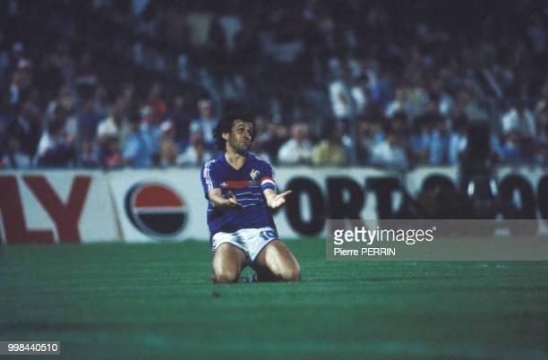 Michel Platini lors du match contre le Portugal de la Coupe d'Europe le 23 juin 1984, France.