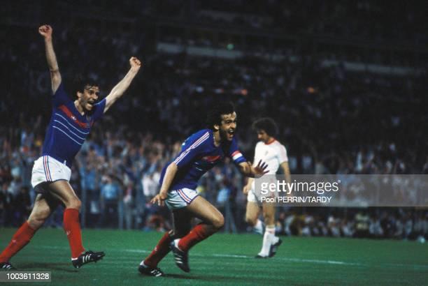 Michel Platini lors du match France-Portugal pendant l'Euro 84 le 23 juin 1984 à Marseille, France.