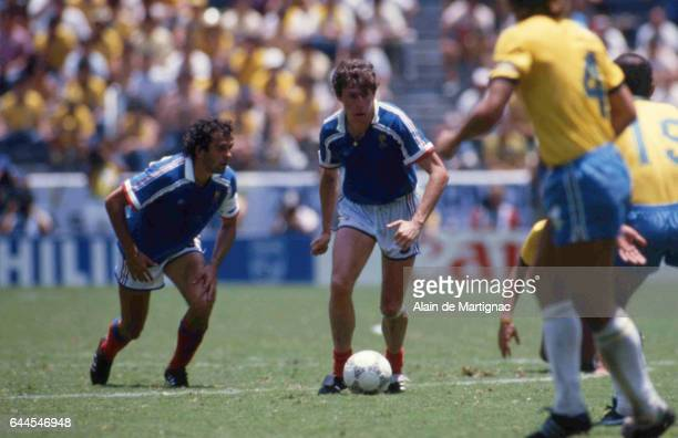 Michel Platini / Luis Fernandez France / Bresil Quart de Finale de la Coupe du Monde 1986 Photo Alain de Martignac / Icon Sport