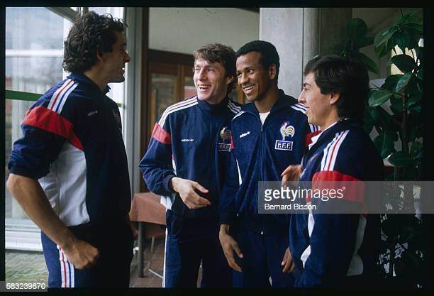Michel Platini, Luis Fernandez, Jean Tigana, and Alain Giresse of the French Soccer Team.