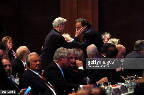 Michel Platini new president of UEFA with his fathers Aldo and Anna Platini