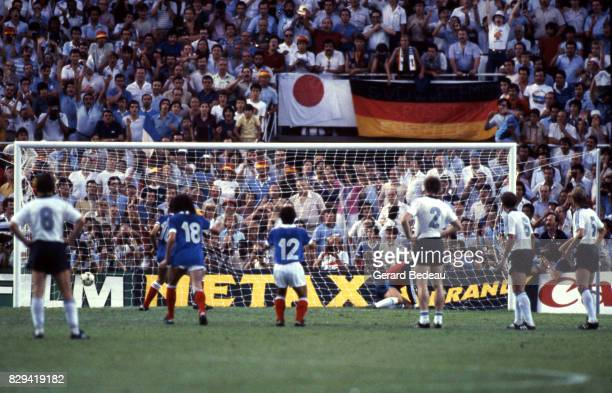 Michel Platini of France celebrate his goal during Semi Final World Cup match between West Germany and France 8th July 1982 in Ramon Sanchez Pizjuan...