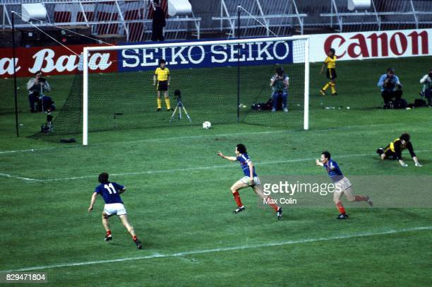 Michel Platini of France celebrate his goal during the European Championship match between France and Denmark at Parc des Princes Paris France on...