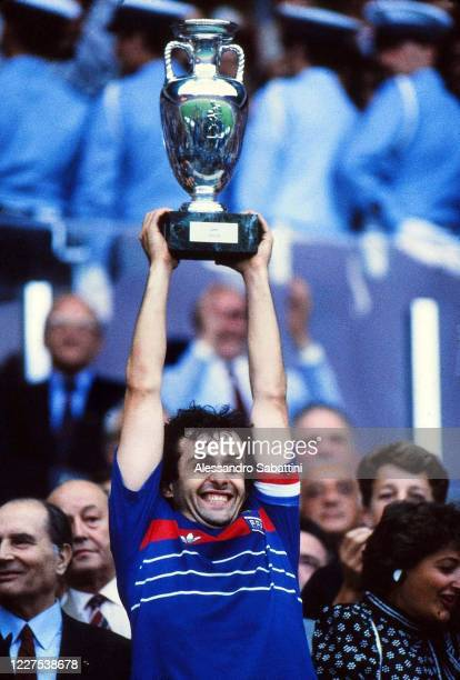 Michel Platini of France celebrates the victory with the trophy after the UEFA EURO 1984 match between France and Spain on Parco dei Principi 27 June...
