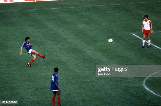 Michel Platini of France during the European Championship match between France and Denmark at Parc des Princes Paris France on 12th June 1984