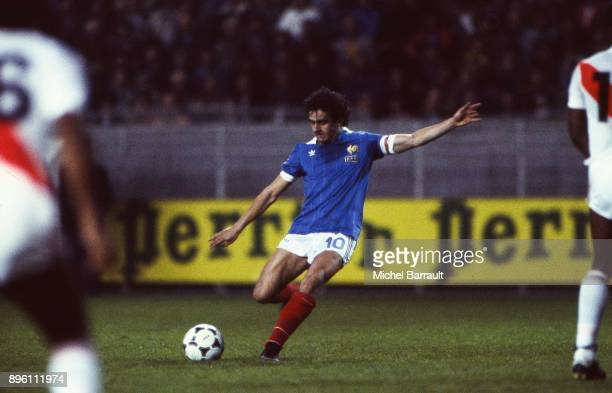 Michel Platini of France during the International Friendly match between France and Peru at Parc des Princes in Paris on April 28th 1982