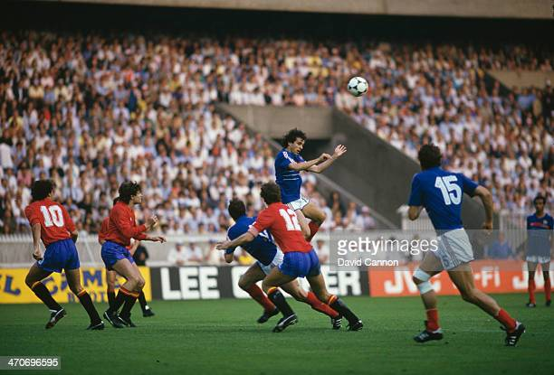 Michel Platini of France heads the ball during the UEFA European Championships 1984 Final match between France and Spain held on June 27, 1984 at the...