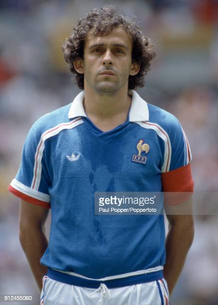Michel Platini of France lines up prior to the FIFA World Cup quarter final between France and Brazil at the Estadio Jalisco in Guadalajara 21st June...