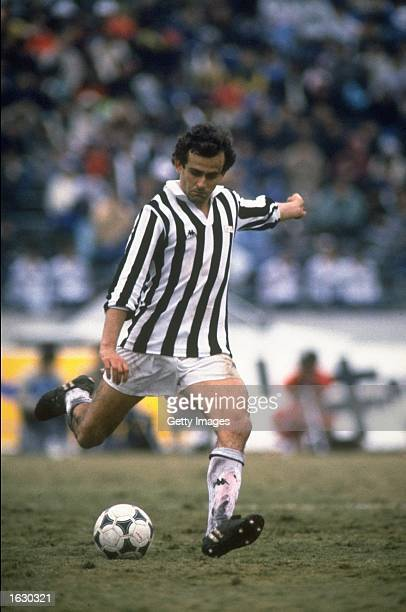Michel Platini of Juventus in action during a match Mandatory Credit Allsport UK /Allsport