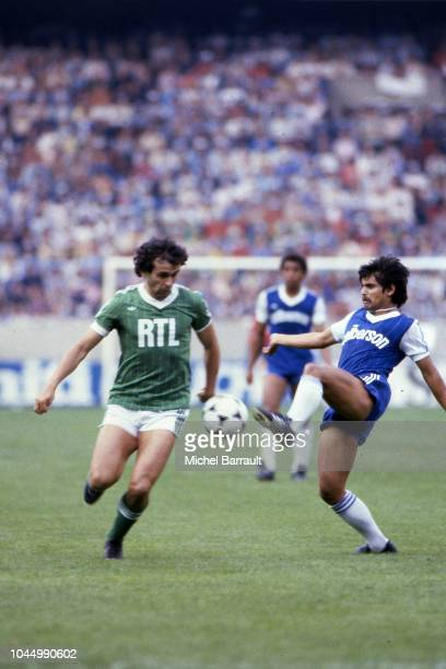 Michel Platini of Saint Etienne and Alain Fiard of Bastia during the French national cup final match between Bastia and St Etienne at Parc des...