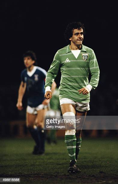 Michel Platini of St Etienne looks on during the UEFA Cup quarterfinal 2nd leg match between Ipswich Town and St Etienne at Portman Road on March 18...