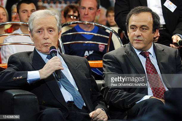 Michel Platini president of l'UEFA In Nancy France On November 03 2007 Aldo Platini and Michel Platini president of l'UEFA