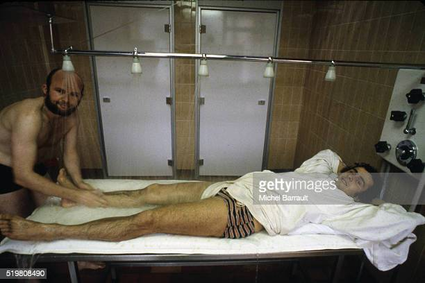 Michel Platini recovers from injury on 12th October 1978 in Bourbonne les Bains France