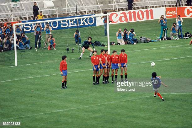 Michel Platini scoring the first goal for France in the final of the 1984 UEFA European Championship. France defeated Spain 2-0.