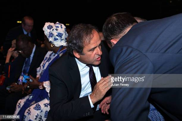 Michel Platini Vice President of FIFA takes his seat before the 61st FIFA Congress Opening Ceremony at Hallenstadion on May 31 2011 in Zurich...