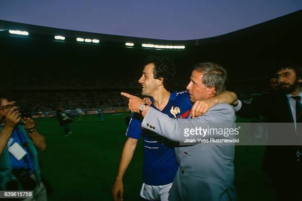 Michel Platini with France's coach Michel Hidalgo after the 1984 UEFA Euro final Led by Michel Platini France won the Championship beating Spain in...